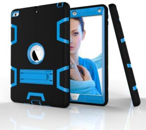 ed7bbf300de0 (Black Blue Color) Anti Finger Print Mixed Protective Shell Skin Shockproof  Heavy Duty Hard Case Cover with Kick-stand For iPad Air 2 Air 6