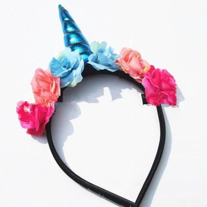 Unicorn Horn Floral Hair Hoop Party Kids Birthday Party Flower Crown  Headband Blue 3045  182157cd21a