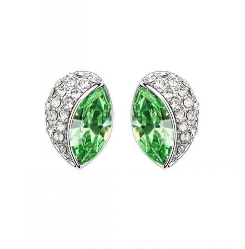 7ea3a0138 ... White Gold Plated Earrings Encrusted with Green Swarovski Crystals,  SWR-446. by Swarovski Elements, Earrings - Be the first to rate this  product. 78 % ...