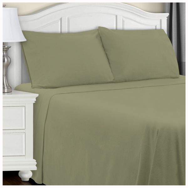 Superior Extra Soft Highest Quality All Season 100 Brushed Cotton Flannel Solid Bedding Sheet Set With Deep Pockets Ed Sage Queen Size Souq