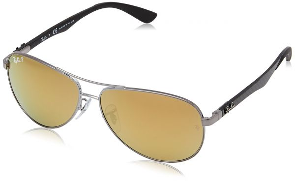 bef327649e Ray-Ban CARBON FIBRE - SHINY GUNMETAL Frame BROWN MIRROR GOLD POLAR Lenses  58mm Polarized