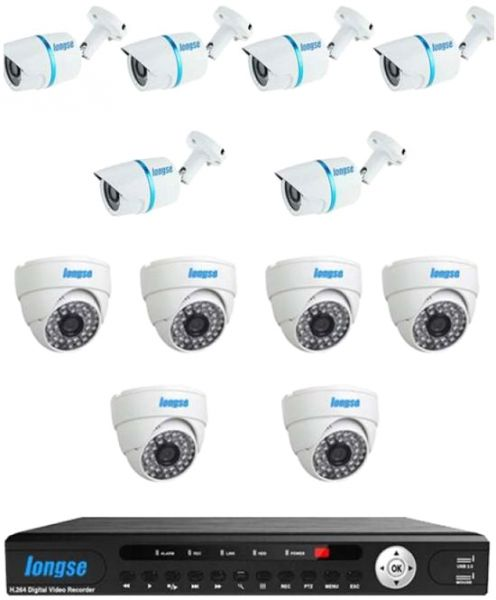 Longse AHD 16 Channels DVR with 6 Indoor and 6 Outdoor 1MP Water Proof Metal IP66 CCTV Security Camera