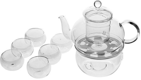 Borosilicate Heat Resistant Glass Tea Pot Set Infuser Teapot