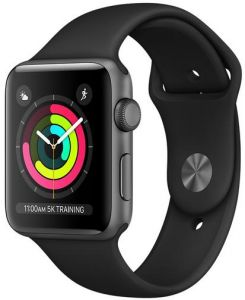 365427f8a Apple Watch Series 3 - 42mm Space Gray Aluminum Case with Black Sport Band,  GPS, watchOS 4, MQL12