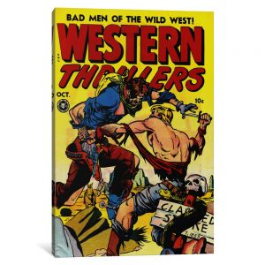 b39eb78f16e0 iCanvasART 1-Piece Bad Man of The Wild West  Western Thrillers-Comic Books - Vintage Poster Canvas Print 0.75 by 26 by 40-Inch 8837-1PC3-40x26