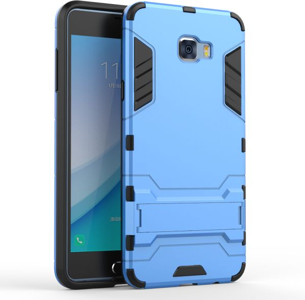 on sale dbdda a3364 Samsung Galaxy C7 Pro - Hard Shockproof Hybrid Armor Stand Phone Case Cover  Light Blue