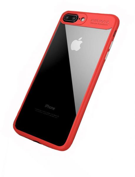 new product 42837 afe3f iPhone 8 Plus, iPhone 7 Plus, Transparent Clear Case, Red Frame
