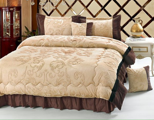 Luxury Winter 6 Piece Comforter Set King Size Brown Souq Uae