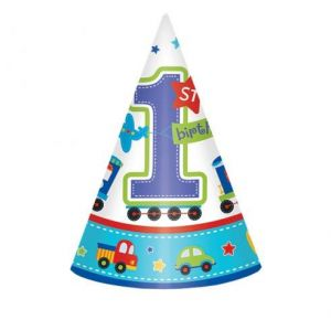 All Aboard Birthday Paper Cone Hats 8pcs