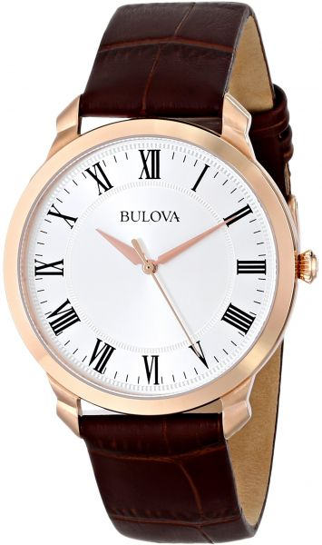 67c5d17644ea Bulova Men s 97A107 Gold-Tone Stainless Steel Watch with Brown Leather  Strap. by Bulova