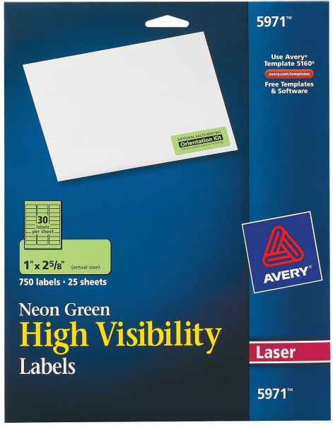 souq avery high visibility laser labels 1 x 2 5 8 neon green