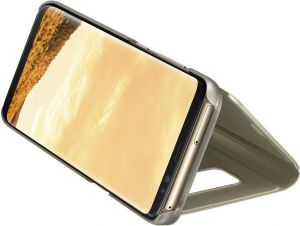 Clear View Stand Flip Cover for Samsung Galaxy J7 Pro - Gold
