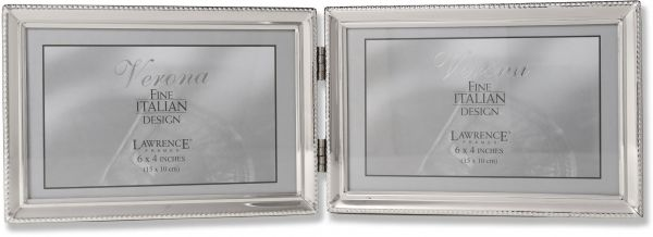Lawrence Frames Polished Silver Plate 4x6 Hinged Double Horizontal