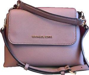49dfb0c49b30 Michael Kors Small Portia Dusty Rose Saffiano Leather Satchel Crossbody Bag