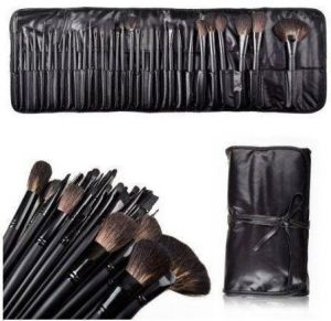 b0ffec7c0b Real Black 32 PCS Makeup Brush Set Cosmetic Brushes Make up Kit Pouch Bag