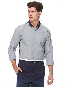 4aa9e605d8f3a Scotch and Soda Grey   Blue Shirt Neck Shirts For Men