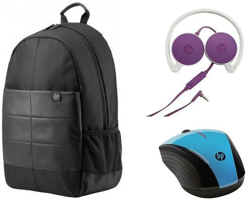 bb07fb2e475e7c HP Laptop 15.6 Inch Classic Backpack - 1FK05AA, Black HP H2800 Headset,  Purple HP X3000 Wireless Mouse - K5D27AA, Blue | السعودية | سوق