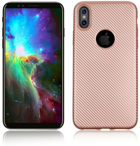 Apple iPhone X brush TPU carbon fiber full protection phone case - Rose Gold