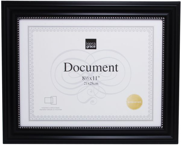 Kiera Grace Lucy Document Frame, 8.5 by 11 Inch - Black with Silver ...