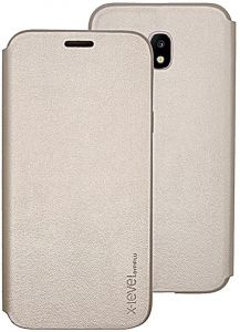 X-level FibColor Leather Flip Case Cover with Screen Protector for Samsung Galaxy J3 (2017) J330F in Gold