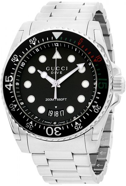 0714ca581d6 Gucci Dive Men s Black Dial Stainless Steel Band Watch - YA136208 ...