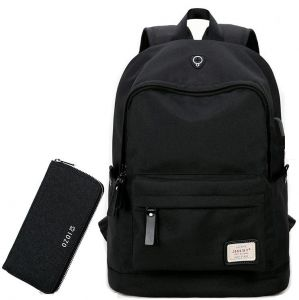 15 Inch Traveling Bag Backpack with USB Charging Port and Headphone hole -  With wallet Black b5841a5154e79