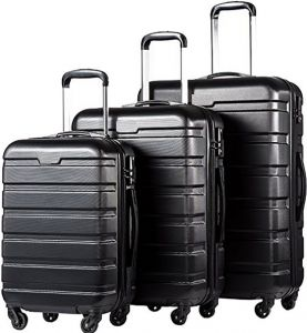 384b55e0b54b Le Voyageur 4 Spinner Wheel 3 Piece Luggage Trolley Bag Set - Black