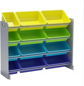 Genial CLASS Kidsu0027 Toy Storage Organizer With 12 Plastic Bins, Large,  CL16JWTR 30054