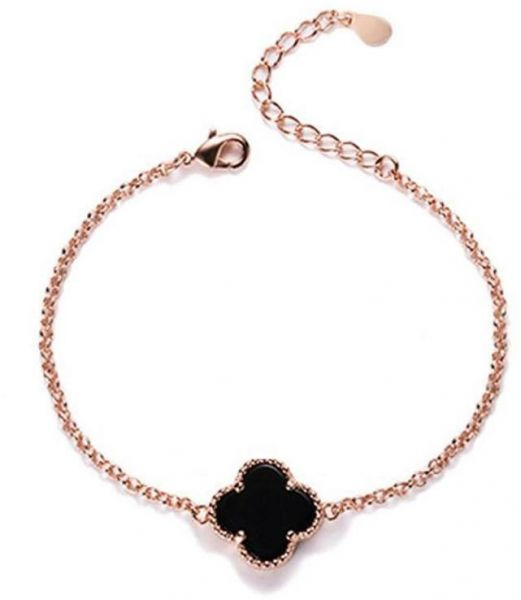 Srgt Four Leaf Clover Bracelet Charm Micro Pave Crystal Link Chain For Women