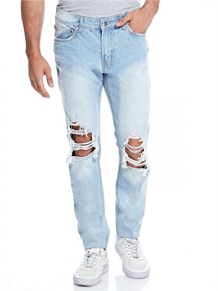 1cb85bb8139 Forever 21 Ripped Jeans For Men - Light Blue | KSA | Souq