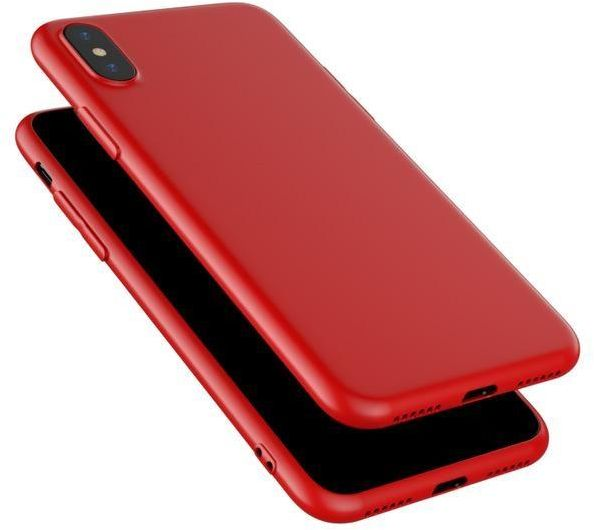best website 243ae 87dce Iphone x Matt Silicone Soft Shell Back Cover Case, Red