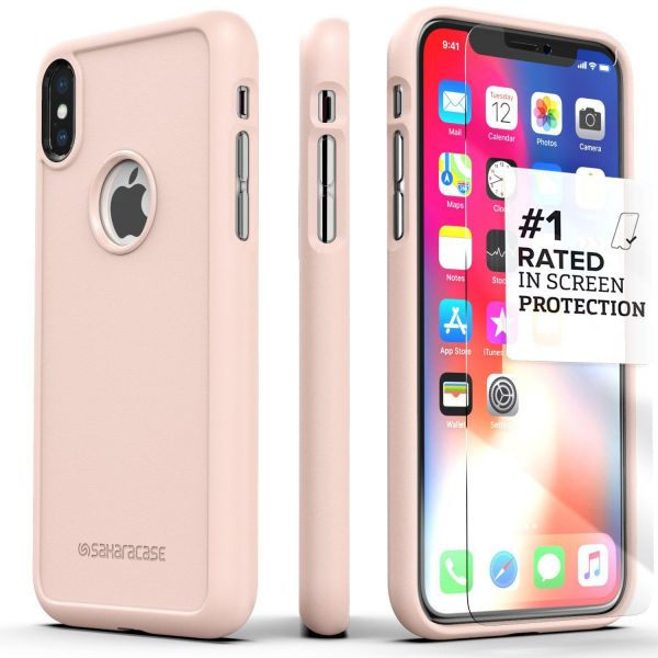 iPhone X (10) Case SaharaCase Protective Kit Bundle with ZeroDamage  Tempered Glass Screen Protector