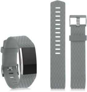 7d22332c6 For Fitbit Charge 2 Replacement Bracelet Watch Band with rhombus  pattern-Large ,Grey