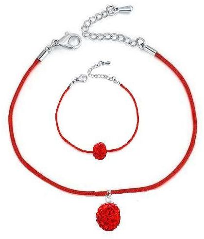 Red string necklace and bracelet with red crystal ball