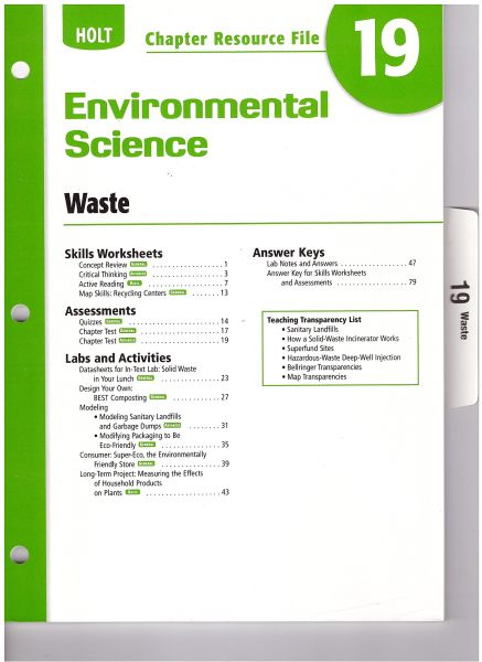 Holt Environmental Science Chapter Resource File Chapter 19 Waste