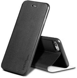 X-Level Leather Flip Case Cover Compatible with iPhone 8 -Black