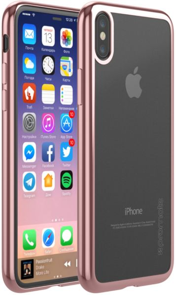 promo code 0982f 849f2 Promate iPhone X Case, Super-Slim Hard Protective Transparent Back Cover  with Reinforced Metallic Platting Edges and Drop Protection for 5.8 Inch ...