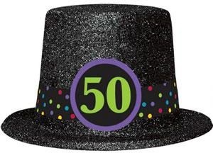 50th Birthday Glitter Top Hat
