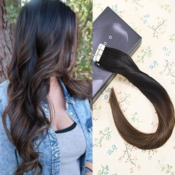 Laavoo 18inch Natural Hair Extensions Color 1b4 Natural Black To