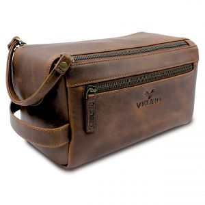 7a3748b9ed85 Velino Handmade Genuine Buffalo Leather Unisex Toiletry Bag Travel Dopp Kit  Grooming and Shaving Kit ~ Gift for Men Women ~ Hanging Zippered Cosmetic  Pouch ...
