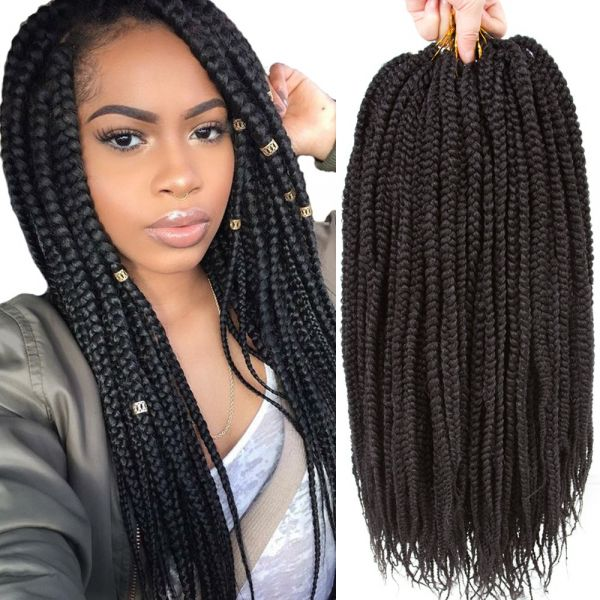 Vrhot 6packs 18 Box Braids Crochet Hair Small Synthetic Hair