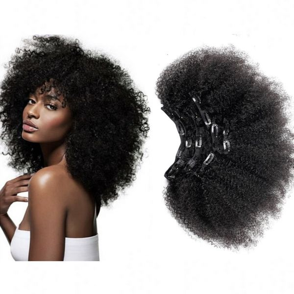 Souq Afro Kinky Curly Human Clip In Remy Hair Extensions 4b 4c