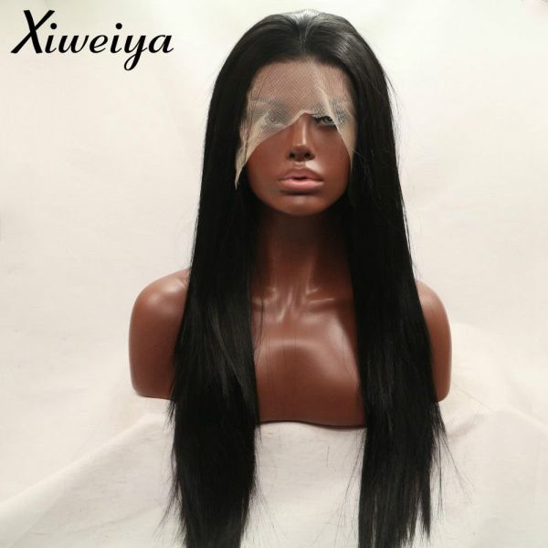 Xiweiya 180% Density Long Silky Straight Black Hair Wigs Heat Resistant  Fiber  1B Synthetic Lace Front Wig For Black Women Glueless Replacement Wig  Half ... 62c9d8bc7