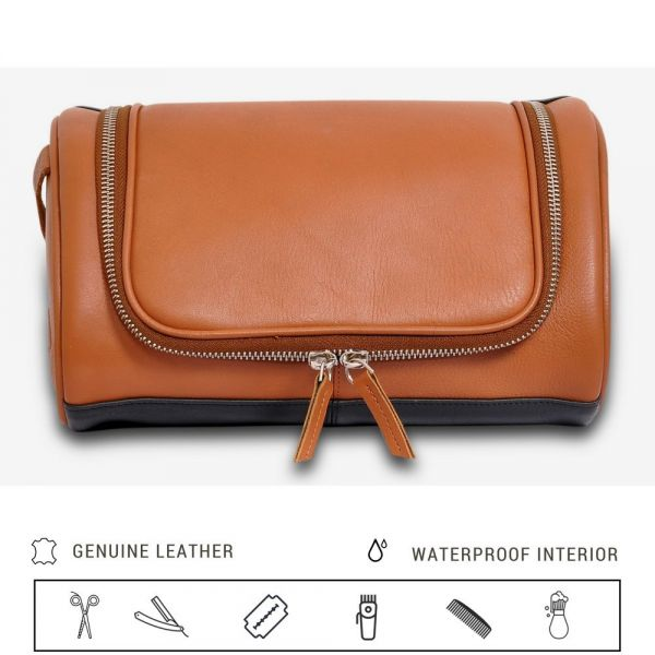 5a1ae901620f IFZA Hanging Leather Toiletry Kit. 100% Leather Shaving bag