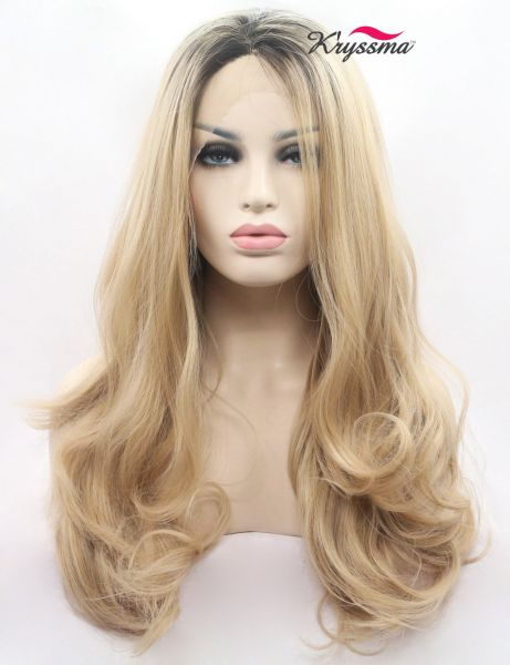 K ryssma Ombre Blonde Synthetic Lace Front Wigs for Women Long Wavy 2 Tone Dark  Roots Blonde Wig 22 inches  41010c6aaa