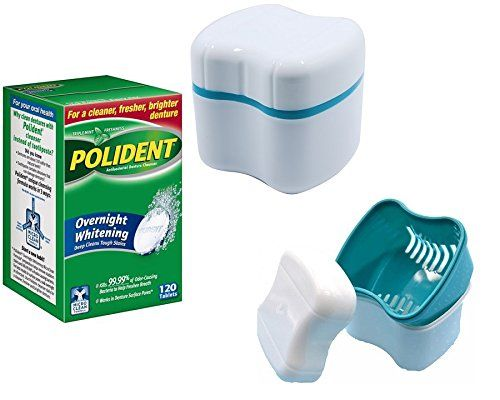 Polident Denture Cleaner Overnight Tablets 120 count with Denture Case Bath Box With Standard Basket