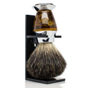 100 Black Badger Bristle Faux Horn Handle Shaving Brush