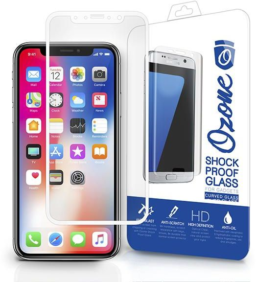 Ozone iPhone X Tempered Glass 2 5D Full Cover Shock Proof White Screen  Protector