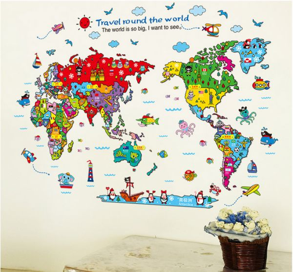 Cartoon Monuments The Country Map World Map Wall Sticker For Baby