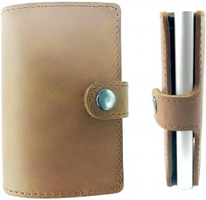 8b32d8502b36 Genuine Leather Wallet with Secure RFID Aluminium Slim case & Cash clip for  Unisex,Brown from Paamsons